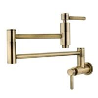 Kingston Brass KS8103DL Wall Mount Pot Filler Kitchen Faucet, Antique Brass 13 Length
