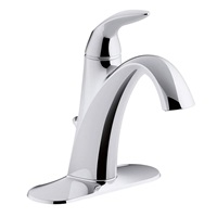 Kohler Alteo Single Handle Single Hole or Centerset Bathroom Sink Faucet with Metal Drain Assembly in Polished Chrome K-45800-4-CP