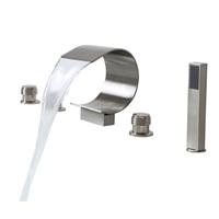 Lovedima Mooni Waterfall Roman Tub Faucet Deck Mount Bathtub Faucet&Handheld Shower (Brushed Nickel)