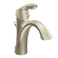 MOEN 6400BN Eva Collection One-Handle Single Hole Bathroom Sink Faucet with Optional Deckplate and Drain Assembly 0.375 Brushed Nickel