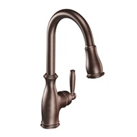 Moen 7185ORB Brantford One-Handle Pulldown Kitchen Faucet Featuring Power Boost and Reflex, 1 count, Oil Rubbed Bronze
