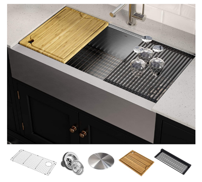 KRAUS KWF410-36 Kore Workstation 36-inch Farmhouse Flat Apron Front 16 Gauge Single Bowl Stainless Steel Kitchen Sink