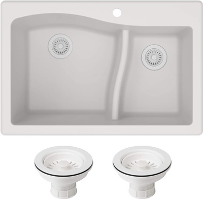 Kraus KGD-442WHITE-PST1-WH Quarza 33-inch Dual Mount 60 40 Double Bowl Granite Kitchen Sink, White