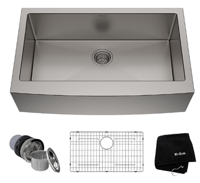 Kraus KHF200-33 Standart PRO Stainless Steel Sink 33 inch Farmhouse Apron Single Bowl 16 gauge