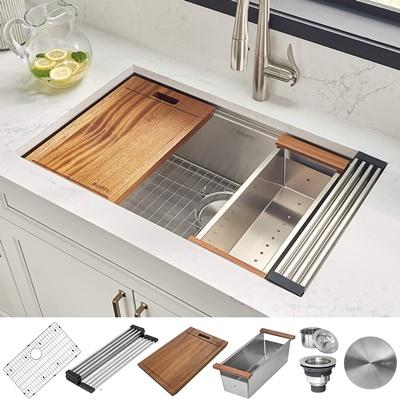 Ruvati 30-inch Workstation Ledge Undermount 16 Gauge Stainless Steel Kitchen Sink Single Bowl - RVH8310