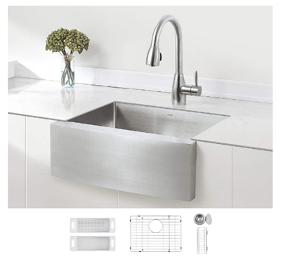 ZUHNE 24-Inch Single Bowl Farmhouse Curved Apron Front Stainless Steel Kitchen Sink