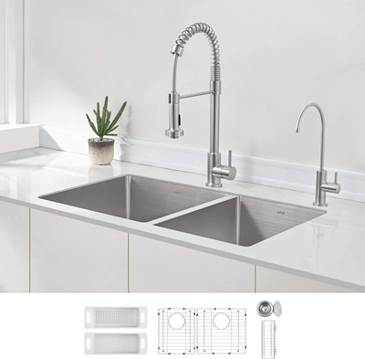 ZUHNE 32-Inch Double Bowl Undermount Deep Kitchen Sink 16 Gauge Stainless Steel (60 40)