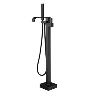 Artiqua Freestanding Bathtub Faucet Tub Filler Black Floor Mount Bathroom Faucets Brass Single Handle with Hand Shower