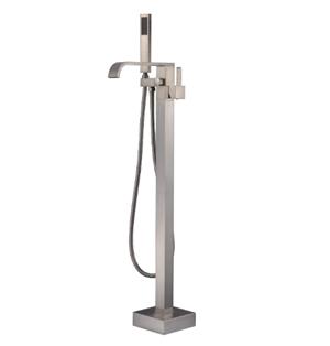 Artiqua Freestanding Bathtub Faucet Tub Filler Brushed Nickel Floor Mount Faucets Brass Single Handle with Hand Shower