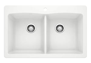 BLANCO, White 440221 DIAMOND SILGRANIT 50 50 Double Bowl Drop-In or Undermount Kitchen Sink