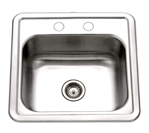 Houzer 1515-6BS-1 Hospitality Series Topmount Stainless Steel 2-Holes Bar Prep Sink