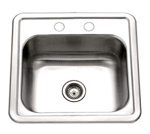 Houzer 1515-6BS-1 Hospitality Series Topmount Stainless Steel 2-Holes Bar Prep Sink
