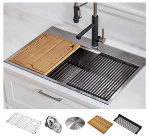 KRAUS KWT310-30 Kore Workstation 30-Inch Drop-In or Undermount 16 Gauge Single Bowl Stainless Steel Kitchen Sink