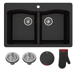 Kraus Forteza 33in Drop-In or Undermount Granite 50 50 Double Bowl Kitchen Sink