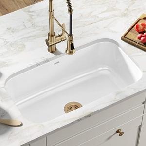 Kraus KEU-14WHITE Pintura 16 Gauge Undermount Single Bowl Enameled Stainless Steel Kitchen Sink
