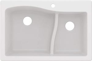 Kraus Quarza Kitchen Sink 33-Inch 60 40 Bowls White Granite KGD-442
