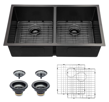 Logmey 32 Inch Gunmetal Black Kitchen Sink