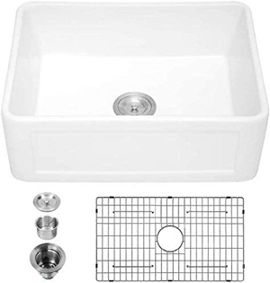 White Farmhouse Sink - Logmey 24 Inch Fireclay Farmhouse Sink Single Bowl Apron Front Small Kitchen Sink Farm Sink Laundry Utility Sink