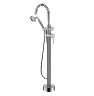 Wowkk Tub Filler Freestanding Bathtub Faucet Brushed Nickel Floor Mounted Brass Bathroom Tub Faucets with Hand Shower