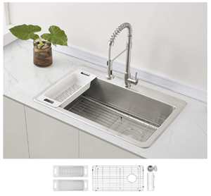 Zuhne Offset Drain Kitchen Sink 16 Gauge Stainless Steel