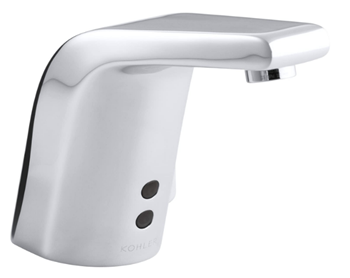 KOHLER K-13460-CP Sculpted Single-Hole DC-Powered Commercial Bathroom Sink Insight Technology, Temperature Mixer Touchless Faucet, Polished Chrome