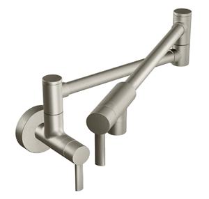 Moen S665SRS Modern Wall Mount Swing Arm Folding Pot Filler Kitchen Faucet