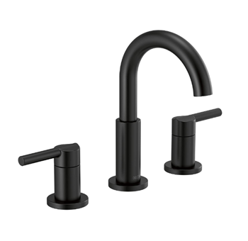 Delta Faucet Nicoli Widespread Bathroom Faucet 3 Hole, Matte Black Bathroom Faucet, Bathroom Sink Faucet, Drain Assembly, Matte Black 35749LF-BL