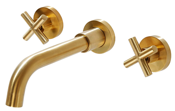 SITGES Gold Bathroom Faucet, Double Handle Wall Mount Bathroom Sink Faucet