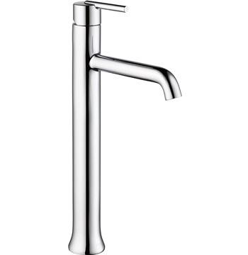 Delta Faucet Trinsic Vessel Sink Faucet, Single Hole Bathroom Faucet, Single Handle Bathroom Faucet Chrome, Diamond Seal Technology, Chrome 759-DST