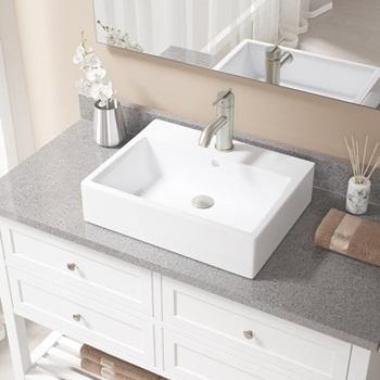 V2502-White Porcelain Vessel Sink Brushed Nickel Ensemble with 753 Vessel Faucet