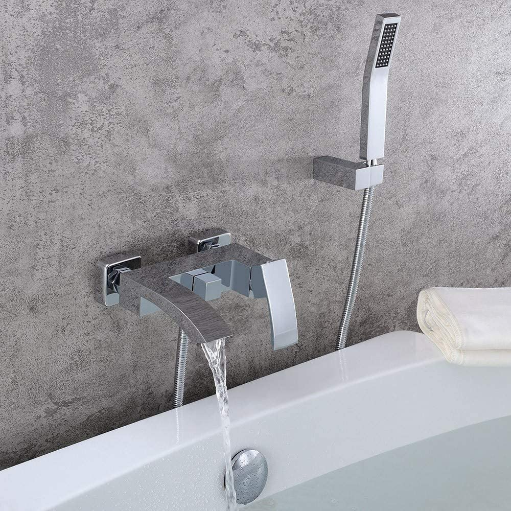 JinYuZe Modern Brass Waterfall Wall-Mount Bath Tub Filler Faucet with Handheld Shower Head