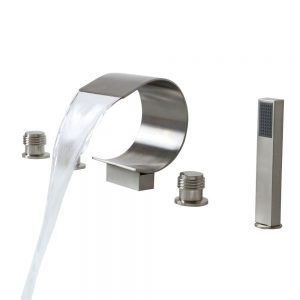Lovedima Mooni Waterfall Roman Tub Faucet Deck Mount Bathtub Faucet&Handheld Shower
