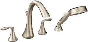 Moen T944BN Eva Two-Handle Deck Mount Roman Tub Faucet Trim Kit with Single Function Handshower, Valve Required, Brushed Nickel