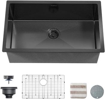 TORVA 32 x 19 Inch Gloss Black Ceramic Coating with NanoTek Undermount Kitchen Sink, 16 Gauge Stainless Steel Wet Bar or Prep Sinks Single Bowl, Black
