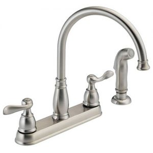DELTA Windemere 2-Handle Kitchen Sink Faucet with Side Sprayer in Matching Finish, Stainless 21996LF-SS