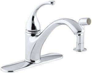 KOHLER K-10412-CP Forté(R) 4-Hole Sink Matching Finish sidespray Kitchen Faucet, Polished Chrome