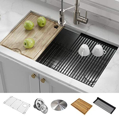 Kraus KWU110-32 Kore Kitchen Single Bowl, 32 Inch - Workstation Sink