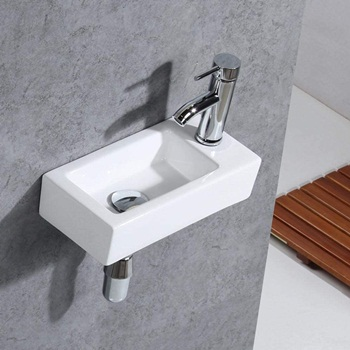 Gimify Bathroom Corner Wall Mount Sink Ceramic White for Small Bathroom, Right Hand, Sink Only