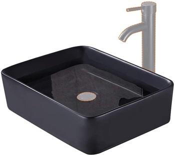 KES Bathroom Rectangular Porcelain Vessel Sink Above Counter Matte Black Countertop Bowl Sink for Lavatory Vanity Cabinet Contemporary Style, BVS110-BK