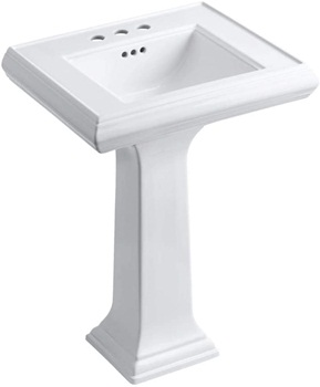 KOHLER K-2238-4-0 Memoirs Pedestal Bathroom Sink with 4inch Centers and Classic Design, White