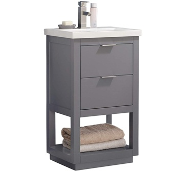 LUCA Kitchen & Bath LC20GGP Sydney 20inch Bathroom Vanity Set in French Gray with Integrated Porcelain Top