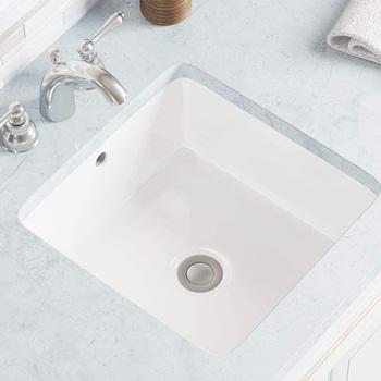 MR Direct U1414-W White Undermount Porcelain Bathroom Sink