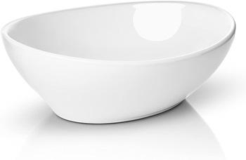 Miligore Oval White Ceramic Vessel Sink - Modern Egg Shape Above Counter Bathroom Vanity Bowl