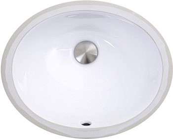 Nantucket Sinks UM-13x10-W 13-Inch by 10-Inch Oval Ceramic Undermount Vanity Sink, White