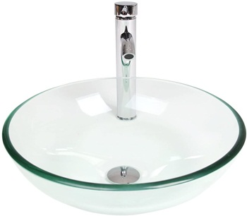 Puluomis Glass Vessel Sink with Faucet Set,Bathroom Vanity Round Bowl