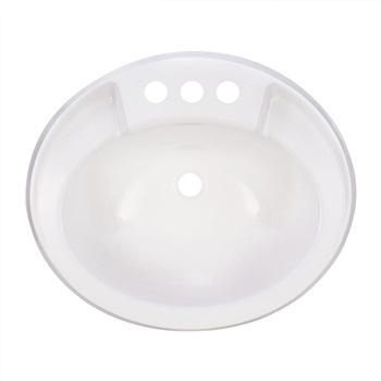 RecPro Oval RV Bathroom Sink, White, Single Bowl Lavatory Sink