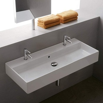 Scarabeo 8031 R-100B-Two Hole Teorema Rectangular Ceramic Wall Mounted Vessel Sink, White