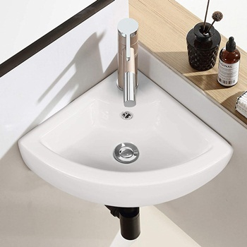 Tangkula Wall Mount Bathroom Vessel Vanity Sink Art Basin, Porcelain Ceramic Above Counter Corner Sink with Pop-up Drainer Single Faucet Hole and Overflow, Ideal for Home Bathroom, White