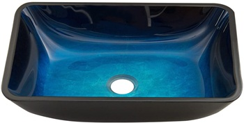 VIGO VG07068 Turquoise Water Handmade Countertop Glass Rectangular Vessel Bathroom Sink in Turquoise Finish
