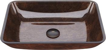 VIGO VG07089 Russet Handmade Glass Rectangular Vessel Bathroom Sink